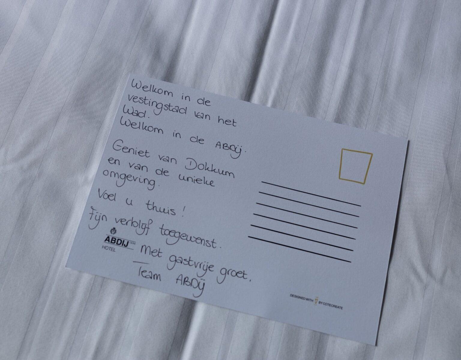 Hotel Abdij Dokkum welkomstkaart